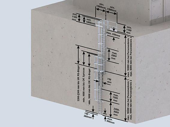 Mehrzügige Steigleiter mit Rückenschutz- über 10 m Steighöhe