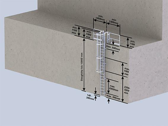 Einzügige Steigleiter mit Rückenschutz- max. Steighöhe bis 10 m