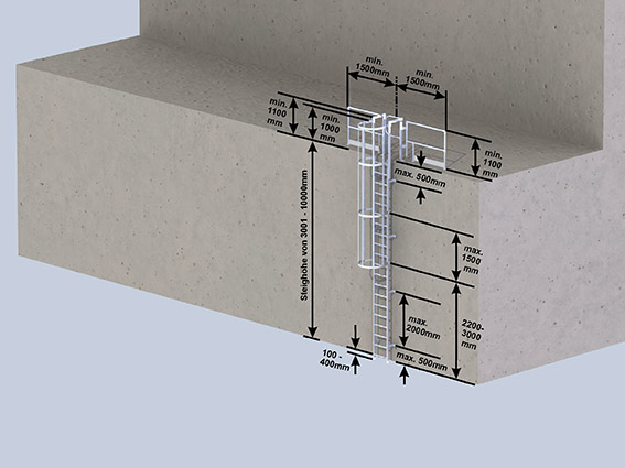 Einzügige Steigleitern mit Rückenschutz- max. Steighöhe 10 m