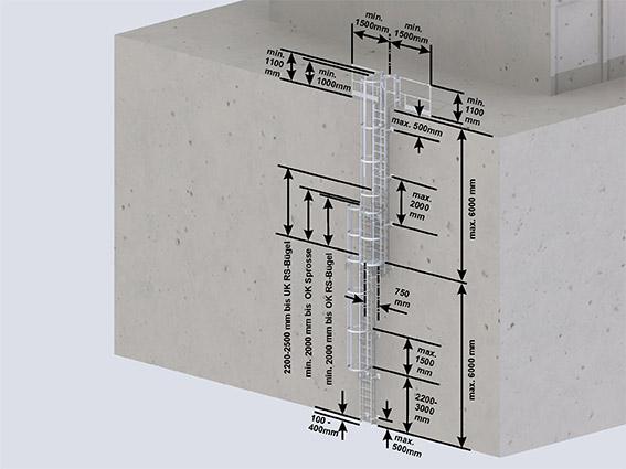 Mehrzügige Steigleitern mit Rückenschutz-  Steighöhe über 10 m